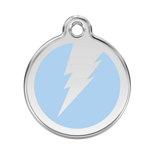 Red Dingo Lightening Bolt Enamel Stainless Steel Dog ID Tag Light Blue Large