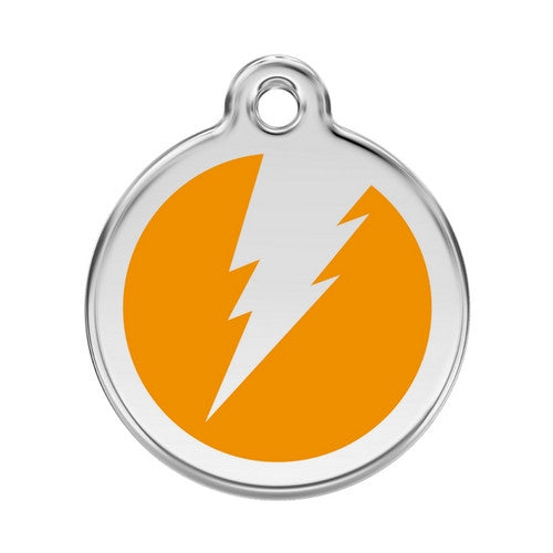 Red Dingo Lightening Bolt Enamel Stainless Steel Dog ID Tag Orange Large