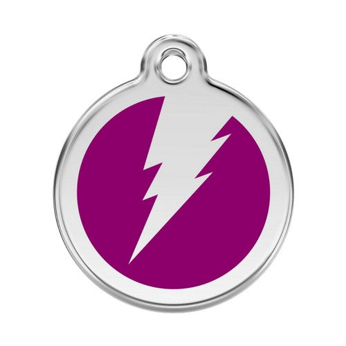 Red Dingo Lightening Bolt Enamel Stainless Steel Dog ID Tag Purple Large