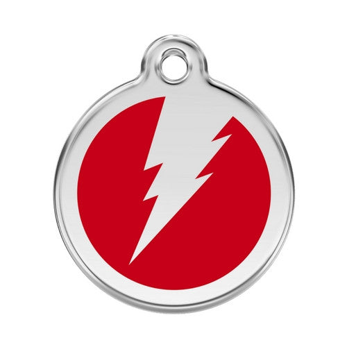 Red Dingo Lightening Bolt Enamel Stainless Steel Dog ID Tag Red Large