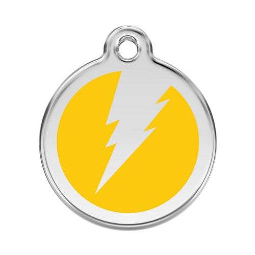 Red Dingo Lightening Bolt Enamel Stainless Steel Dog ID Tag Yellow Large