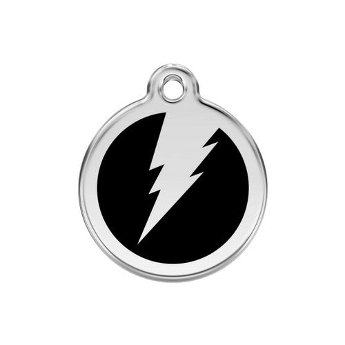 Red Dingo Lightening Bolt Enamel Stainless Steel Dog ID Tag Black Medium