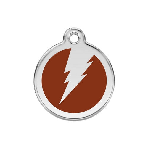 Red Dingo Lightening Bolt Enamel Stainless Steel Dog ID Tag Brown Medium