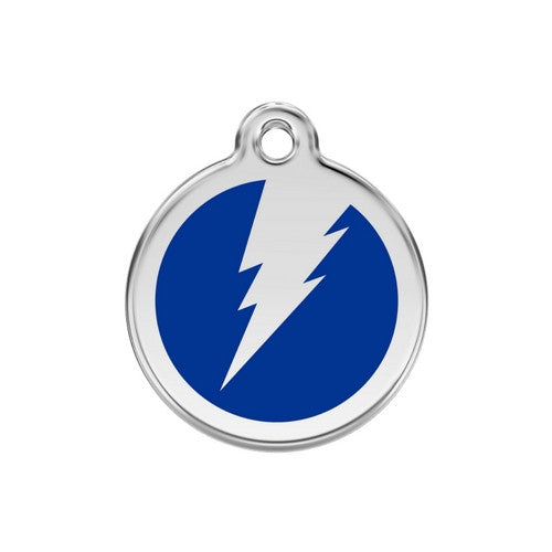 Red Dingo Lightening Bolt Enamel Stainless Steel Dog ID Tag Dark Blue Medium