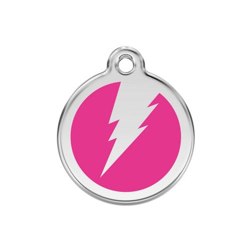 Red Dingo Lightening Bolt Enamel Stainless Steel Dog ID Tag Hot Pink Medium