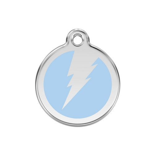 Red Dingo Lightening Bolt Enamel Stainless Steel Dog ID Tag Light Blue Medium