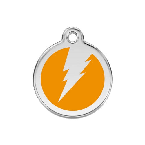 Red Dingo Lightening Bolt Enamel Stainless Steel Dog ID Tag Orange Medium
