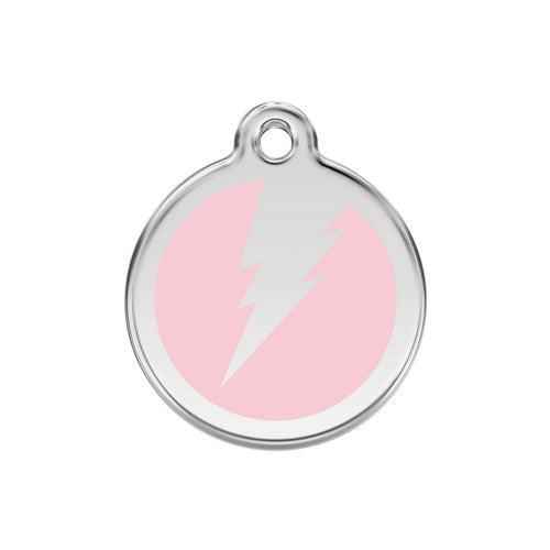 Red Dingo Lightening Bolt Enamel Stainless Steel Dog ID Tag Pink Medium