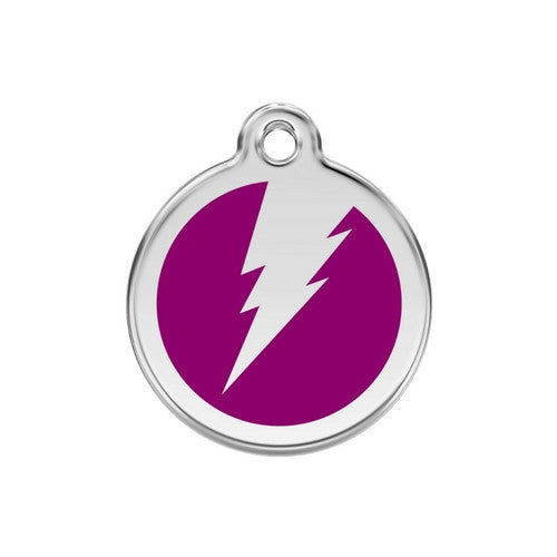 Red Dingo Lightening Bolt Enamel Stainless Steel Dog ID Tag Purple Medium