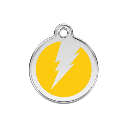 Red Dingo Lightening Bolt Enamel Stainless Steel Dog ID Tag Yellow Medium