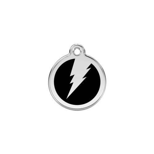 Red Dingo Lightening Bolt Enamel Stainless Steel Dog ID Tag Black Small