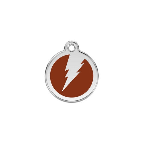 Red Dingo Lightening Bolt Enamel Stainless Steel Dog ID Tag Brown Small