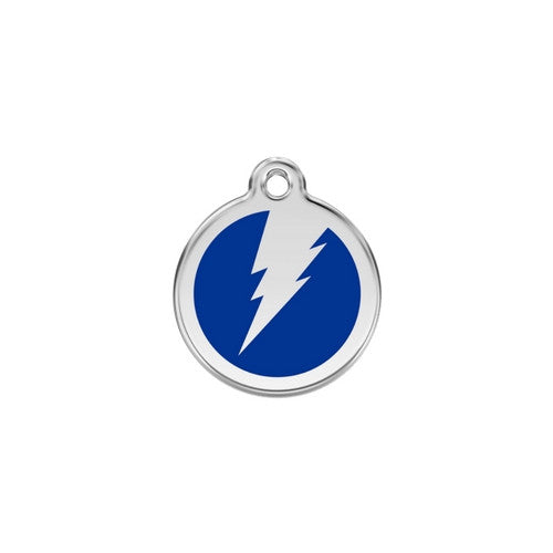 Red Dingo Lightening Bolt Enamel Stainless Steel Dog ID Tag Dark Blue Small