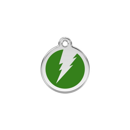 Red Dingo Lightening Bolt Enamel Stainless Steel Dog ID Tag Green Small