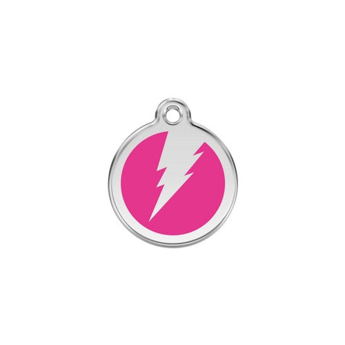 Red Dingo Lightening Bolt Enamel Stainless Steel Dog ID Tag Hot Pink Small