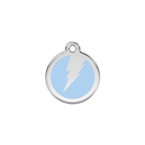 Red Dingo Lightening Bolt Enamel Stainless Steel Dog ID Tag Light Blue Small