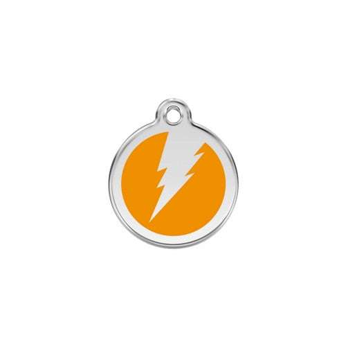 Red Dingo Lightening Bolt Enamel Stainless Steel Dog ID Tag Orange Small