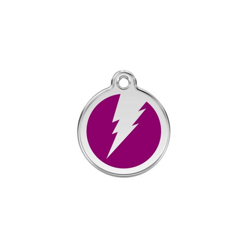 Red Dingo Lightening Bolt Enamel Stainless Steel Dog ID Tag Purple Small