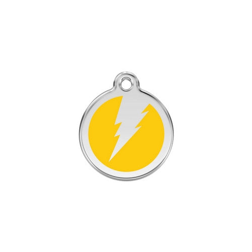 Red Dingo Lightening Bolt Enamel Stainless Steel Dog ID Tag Yellow Small