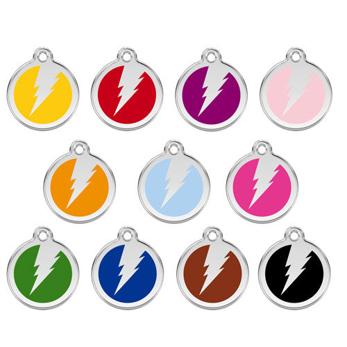 Red Dingo Lightening Bolt Enamel Stainless Steel Dog ID Tag