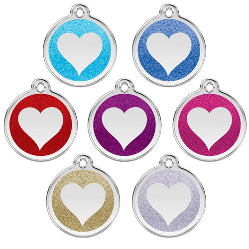 Red Dingo Glitter Heart Stainless Steel Dog ID Tag