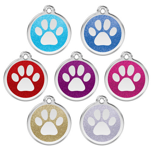 Red Dingo Paw Print Glitter Stainless Steel Dog ID Tag