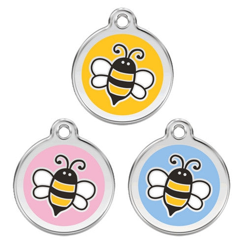 Red Dingo Bumble Bee Enamel Stainless Steel Engraved Dog ID Tag
