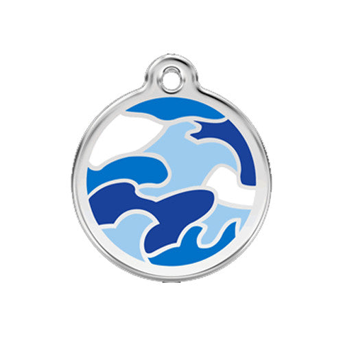 Red Dingo Camouflage Enamel Stainless Steel Dog ID Tag Medium Blue