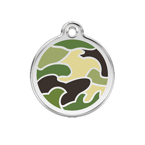 Red Dingo Camouflage Enamel Stainless Steel Dog ID Tag Medium Green