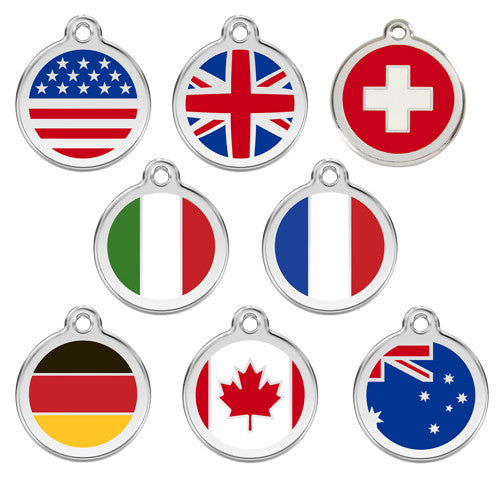 Red Dingo Enamel Stainless Steel National Flag Dog ID Tag