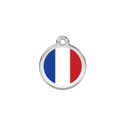 Red Dingo Enamel Stainless Steel National Flag Dog ID Tag France Small