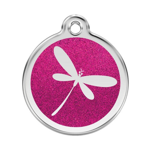 Red Dingo Glitter Stainless Steel Dog ID Tag  — Dragon Fly Large