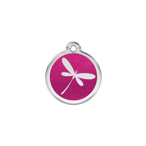 Red Dingo Glitter Stainless Steel Dog ID Tag  — Dragon Fly Small