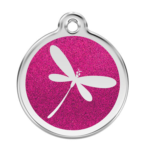 Red Dingo Dragon Fly Glitter Stainless Steel Dog ID Tag