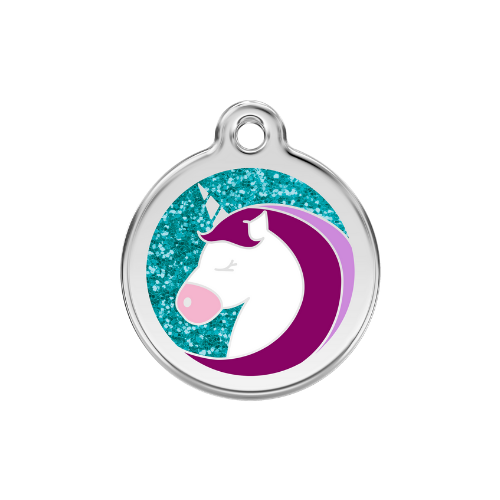Red Dingo Glitter Stainless Steel Dog ID Tag  — Unicorn Size Large