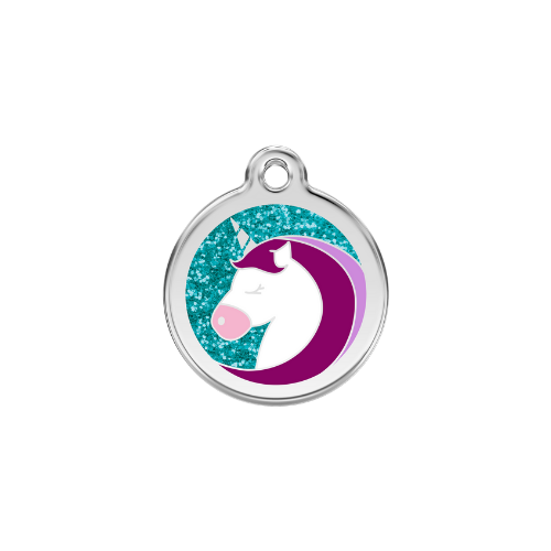 Red Dingo Glitter Stainless Steel Dog ID Tag  — Unicorn Size Medium