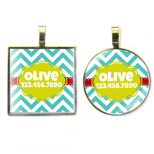 Sofa City Sweethearts Chevron Stripes Resin Art Dog ID Tag — Teal