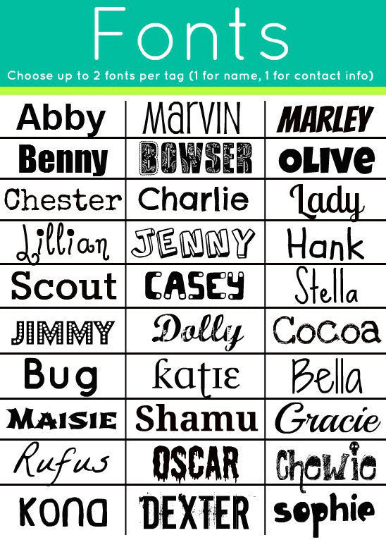 Sofa City Sweethearts Dog ID Tag Font Options