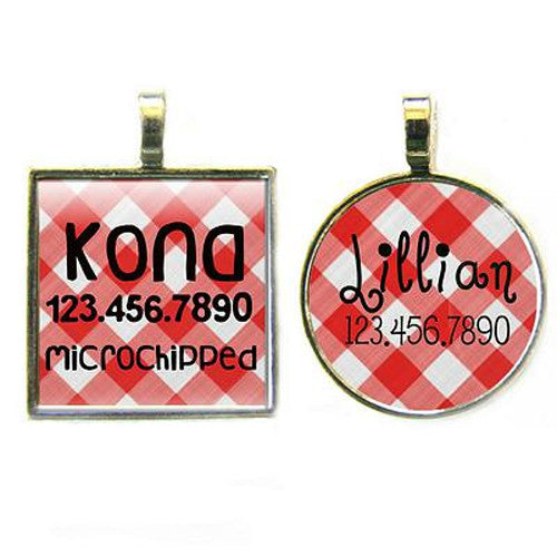 Sofa City Sweethearts Picnic Plaid Resin Art Dog ID Tag — Red