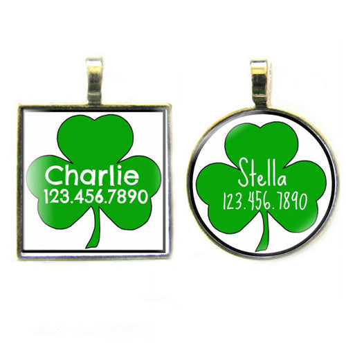 Sofa City Sweethearts Shamrock Resin Art Dog ID Tag