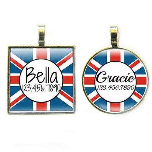 Sofa City Sweethearts Union Jack UK British Flag Resin Art Dog ID Tag