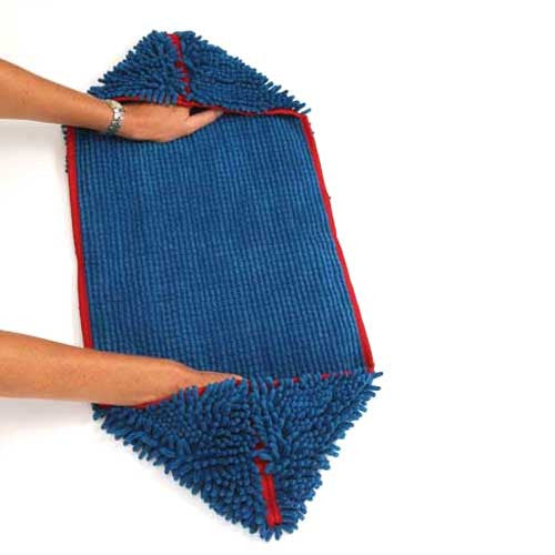 Soggy Doggy Super Shammy Absorbent Microfiber Dog Towel Blue Hand Corners