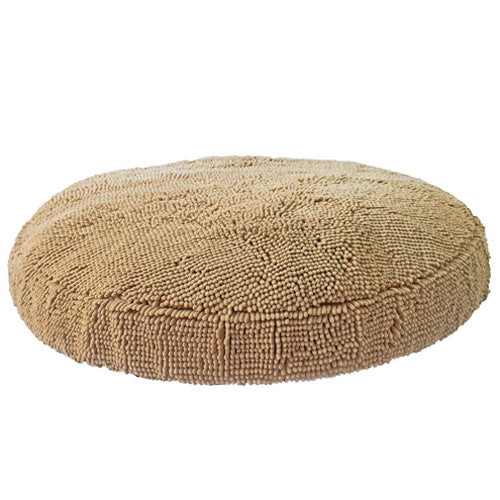 Soggy Doggy Super Snoozer Microfiber Chenille Round Dog Bed — Beige
