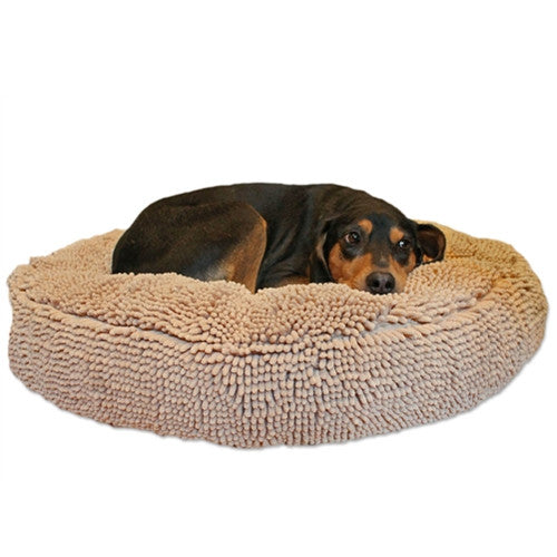 Soggy Doggy Super Snoozer Microfiber Chenille Round Dog Bed — Beige with Dog