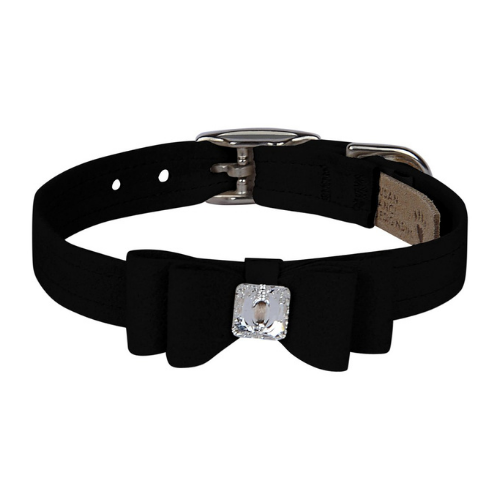 Susan Lanci Designs Big Bow Crystal Dog Collar — Black