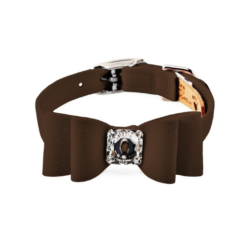 Susan Lanci Designs Big Bow Crystal Dog Collar — Chocolate