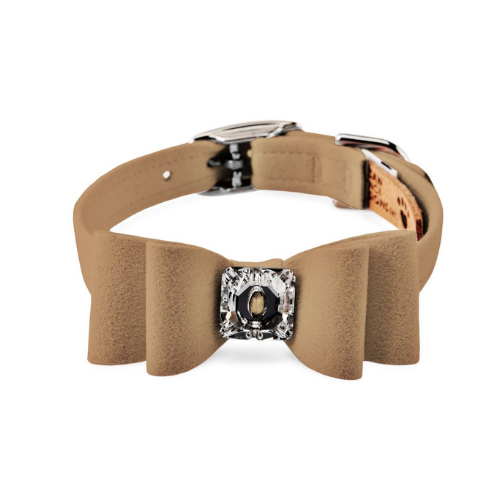 Susan Lanci Designs Big Bow Crystal Dog Collar — Fawn