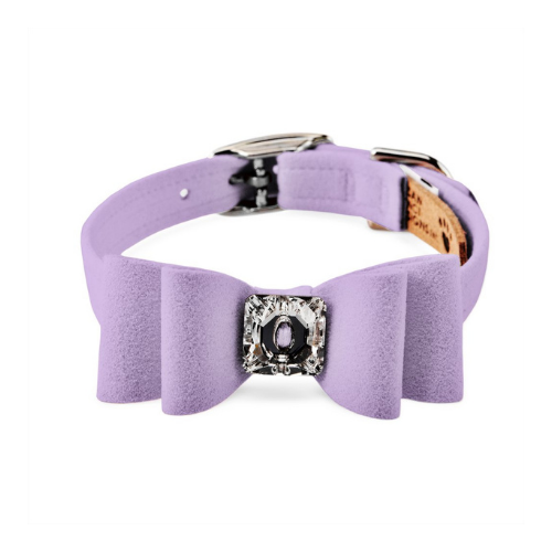 Susan Lanci Designs Big Bow Crystal Dog Collar — French Lavender