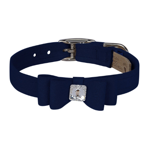 Susan Lanci Designs Big Bow Crystal Dog Collar — Indigo