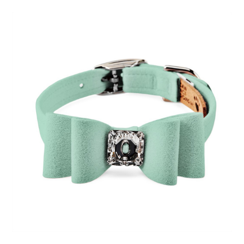 Susan Lanci Designs Big Bow Crystal Dog Collar — Mint